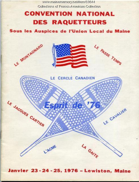 Program, Convention National des Raquetteurs, Lewiston, 1976
