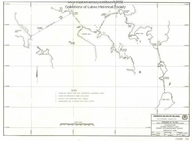 Tidal power project map, Lubec, 1980