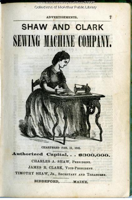 Shaw & Clark Sewing Machine advertisement, Biddeford, 1866