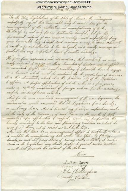 Luther Cary petition for bounty on mulberry trees and silk manufacturing, Turner, 1841
