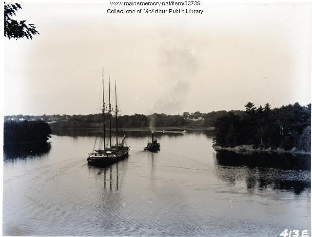 "Three-masted vessel being towed down Saco River by tug ""Joseph W. Baker"", ca. 1910"