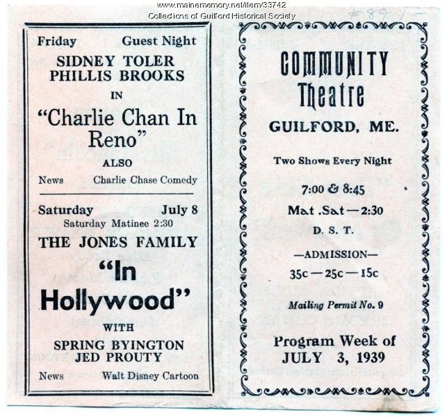 Community Theatre Program, Guilford, July 3,1939