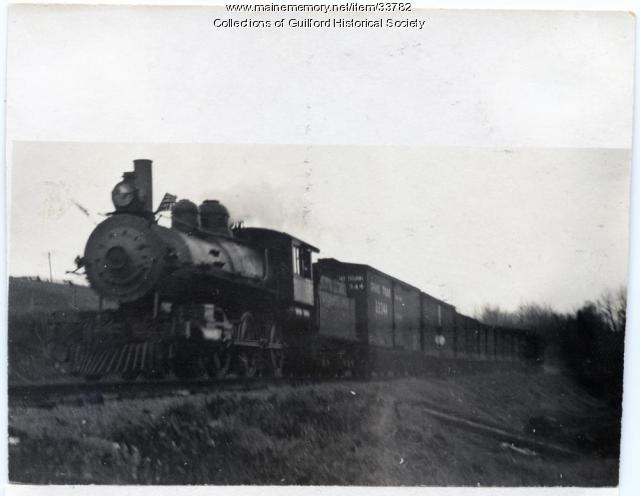 Freight Train between Guilford & Sangerville, ca. 1920