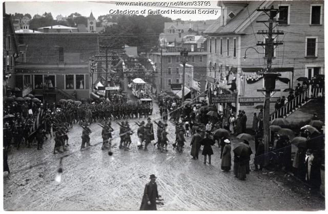 Troops marching, Guilford, 1916