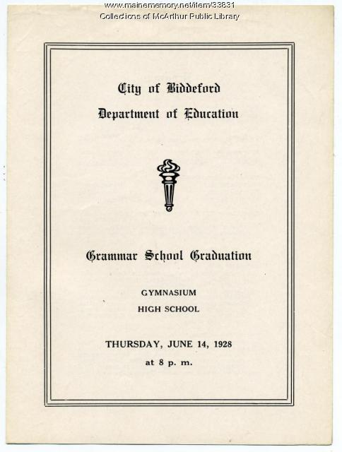 Grammar schools graduation program, Biddeford, June 1928