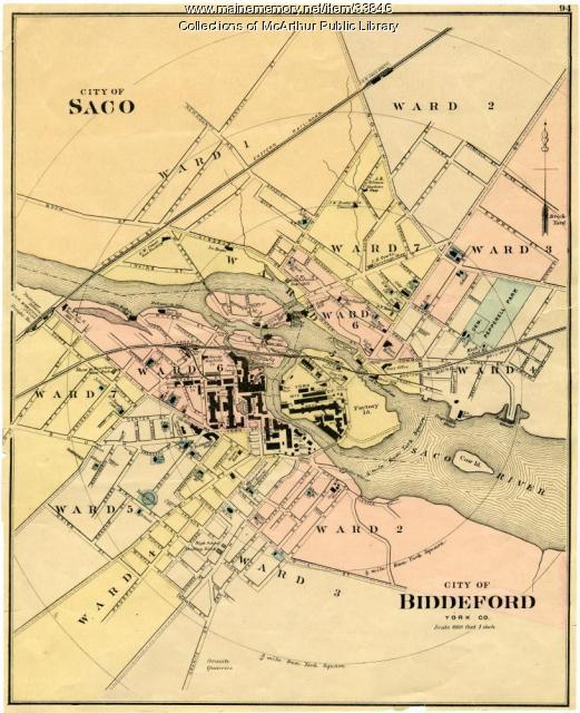 Biddeford and Saco downtowns, ca. 1870
