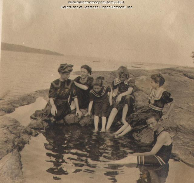 Children Swimming at the Bathing Beach - 1907