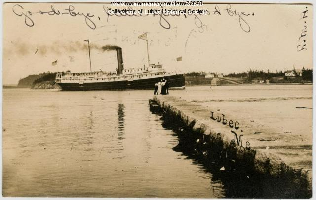 Steamship in Narrows, Lubec, ca. 1905