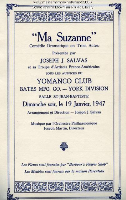"""Ma Suzanne"" program, Biddeford, January 1947"