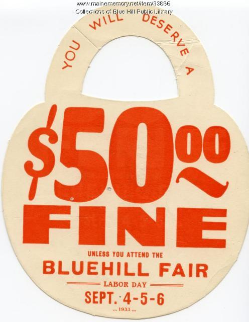Doorknob hanger advertisement for Blue Hill Fair, 1933