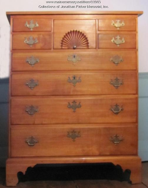 Wood chest of drawers, Blue Hill, ca. 1800