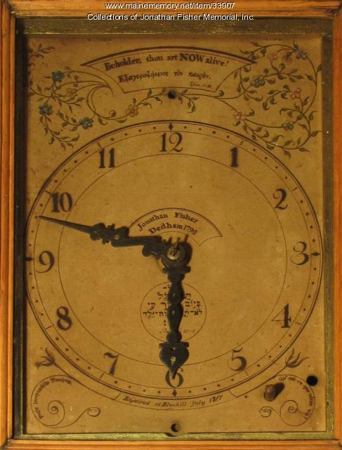 Wall clock face, Blue Hill, 1790