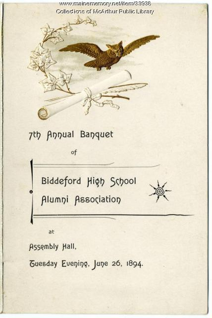 Biddeford High School Alumni Association banquet program, 1894