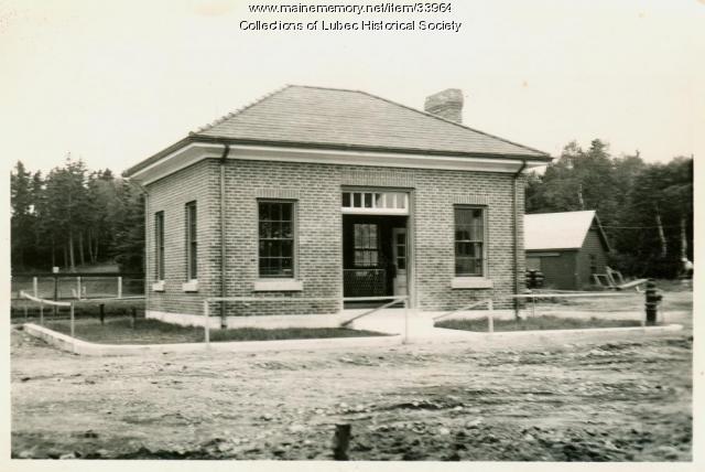 Pump house closeup, Lubec, ca. 1940