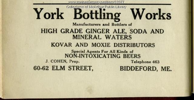 York Bottling Works advertisement, Biddeford, 1920