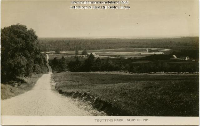 Postcard of the trotting park in Blue Hill ca. 1910