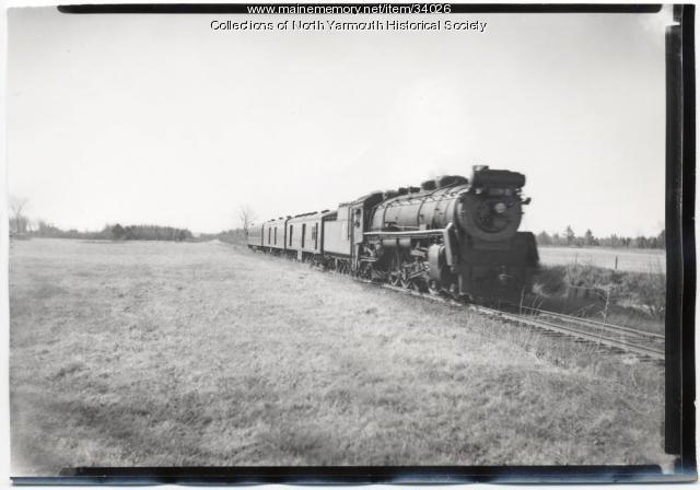 Grand Trunk Railroad passenger and mail train, North Yarmouth, 1956