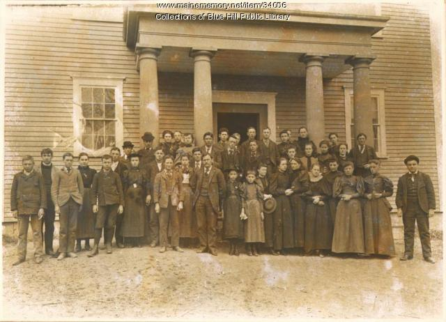 Class in front of Blue Hill Academy, Blue Hill, 1893