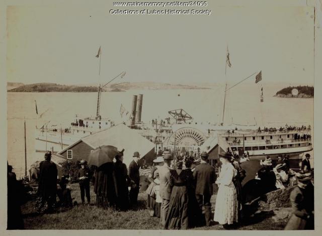 Steamship arrival, Lubec, ca. 1895