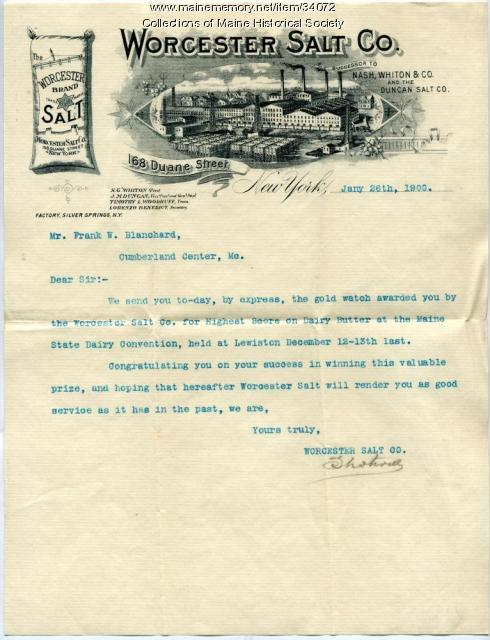 Letter to Frank Blanchard about dairy butter prize, Cumberland, 1900