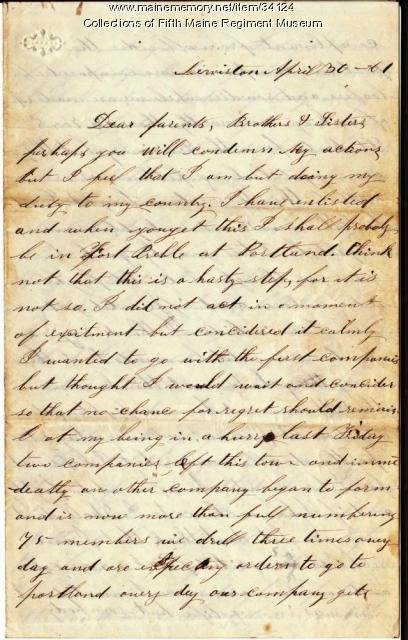John French letter on enlistment, 1861