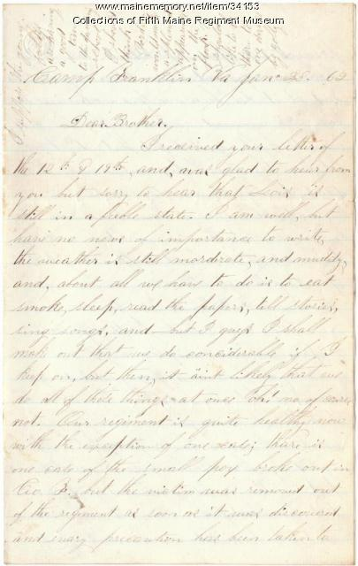 John French letter to brother, 1862