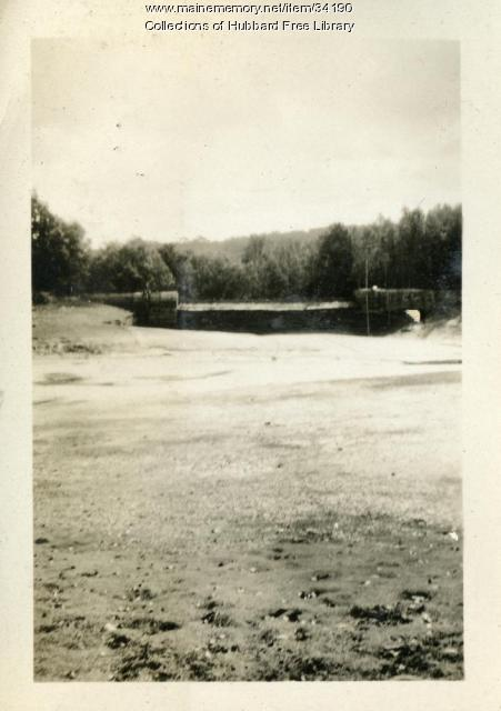 Cascade Pond drained for cleanup, Hallowell, ca. 1931