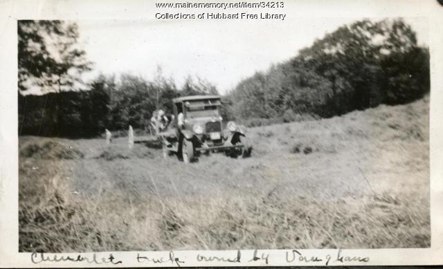 "Vaughan Farm, Chevrolet ""horse-power,"" Hallowell, ca. 1933"