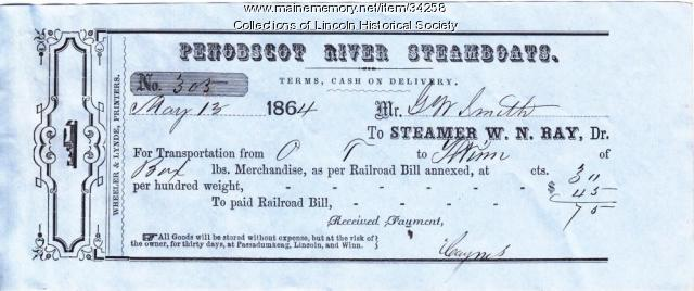 Steamboat Ticket, Lincoln, 1864