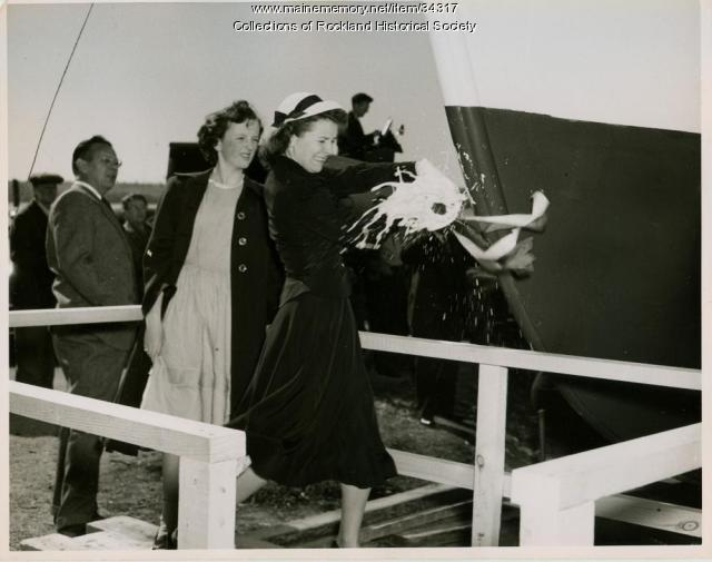 Sardine carrier Mary Anne christened, Thomaston, 1947