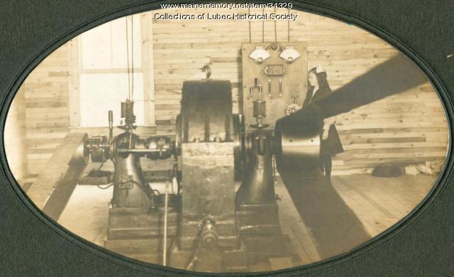Early electric generator, Lubec, ca. 1903