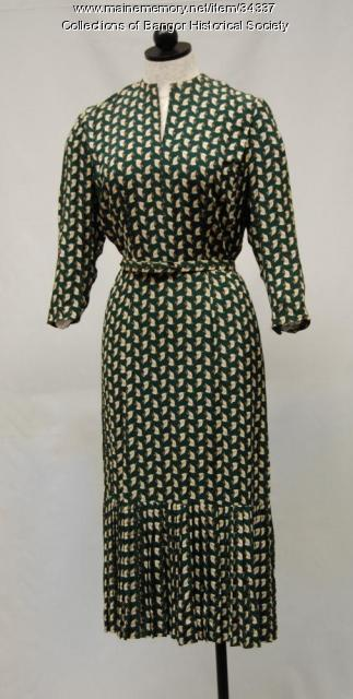 Green print dress, Bangor, ca. 1949