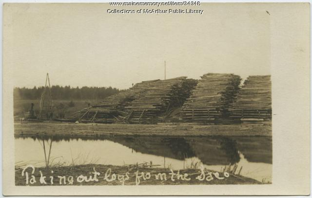 Piles of logs along the Saco River, circa 1910