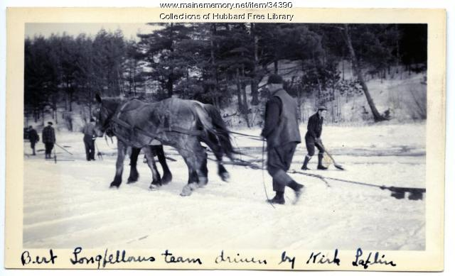 Ice harvesting, Cascade Pond, Hallowell, ca. 1936