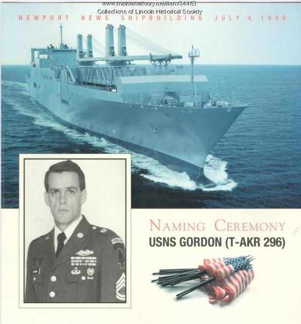 """Gordon"" naming ceremony program, Newport News, Virginia, 1996"
