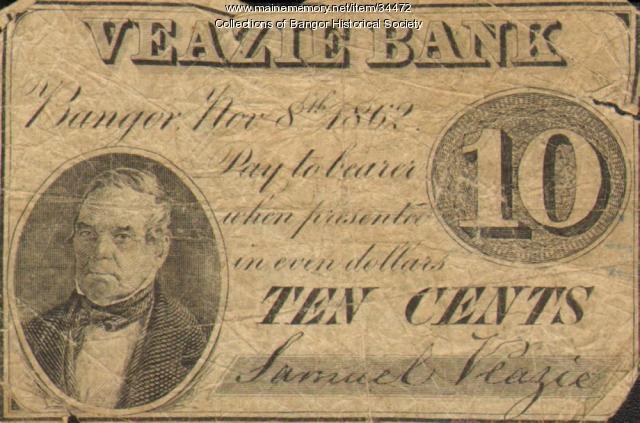 Veazie Bank Script, Bangor, 1862