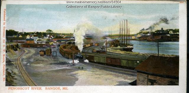 Freight Yard on the Penobscot River, Bangor, ca. 1901