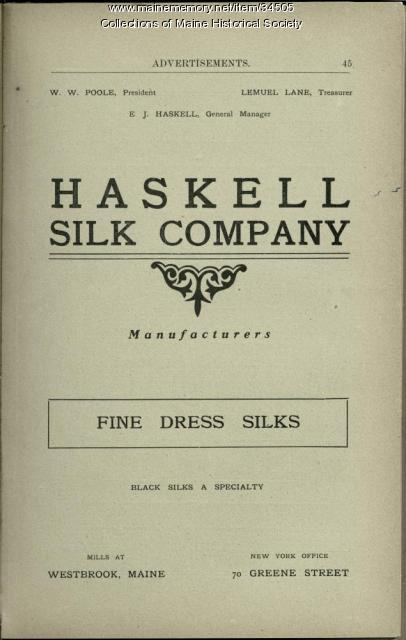 Haskell silk advertisement, Westbrook, ca. 1902
