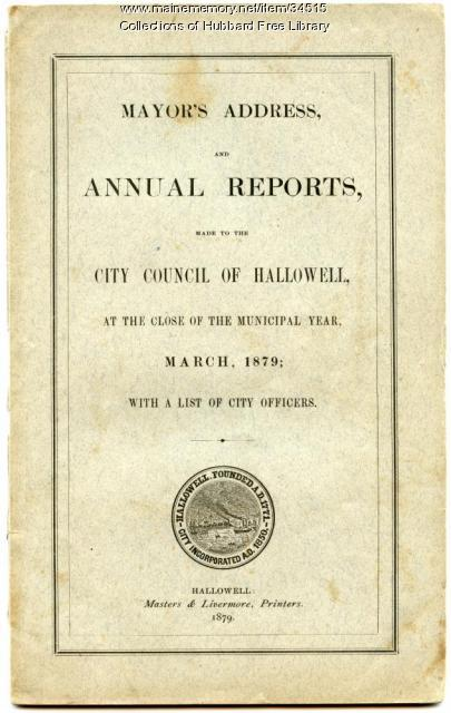 Annual Report, Hallowell, March 1879