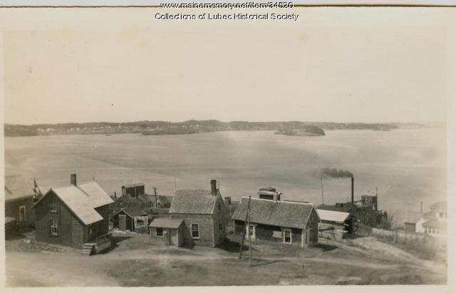 Johnson Bay and commercial district, Lubec, ca. 1930