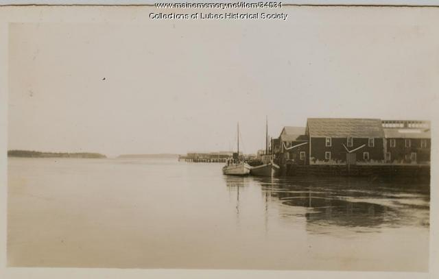 Peacock factory and Lubec Channel, Lubec, ca. 1930