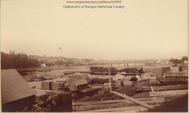 Lumber along waterfront, Bangor, ca. 1860