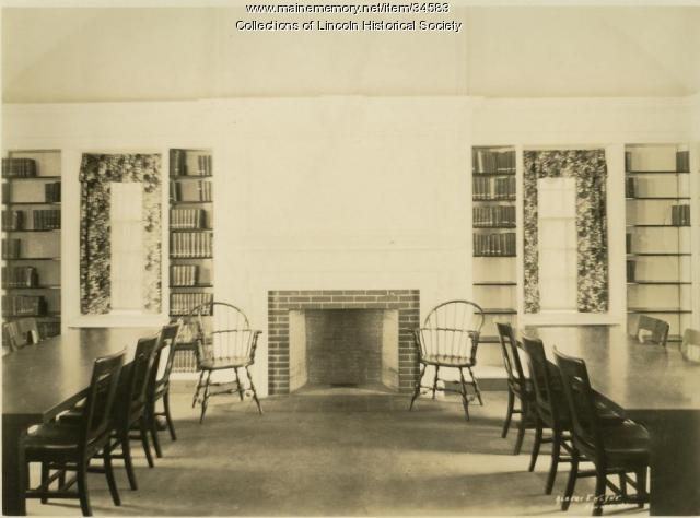 Lincoln Memorial Library, tables & fireplace, 1924