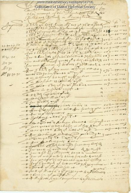 John Winter invoices, Richmond Island, 1634