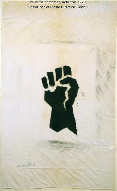 Black Power banner, Waterville, 1970