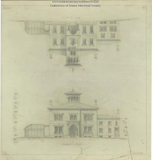 Elevations of Bramhall, Portland, 1855