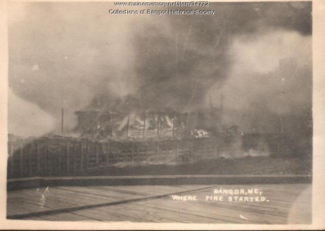 Haybarn on fire on bank of Kenduskeag Stream, Bangor, 1911