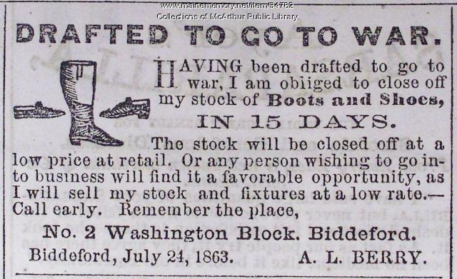 Civil War draftee advertisement, Biddeford, 1863