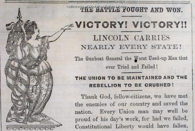 Lincoln's election victory celebrated, Biddeford, 1864