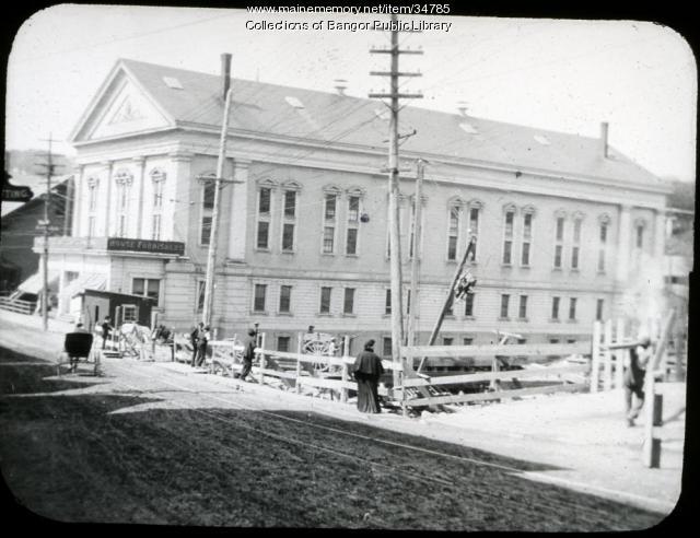 Side view of Norumbega Hall, Bangor, ca. 1905